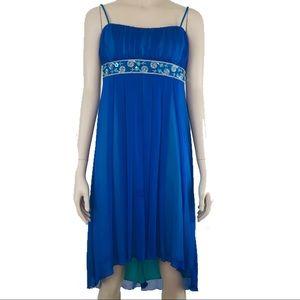 City Triangles Blue Chiffon Rhinestoned Dress